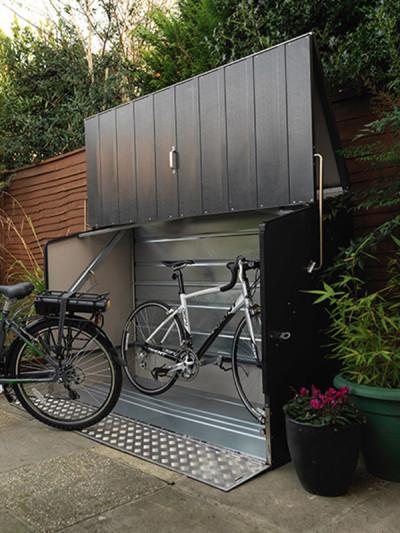fahrradbox anthrazit mit rampe trimetals online shop. Black Bedroom Furniture Sets. Home Design Ideas
